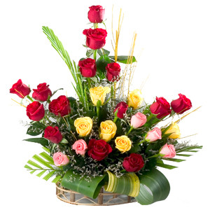 Flower Basket Of 25 Mix Colour Roses