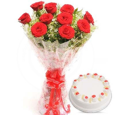 Combo Of 10 Red Roses With Half Kg Pineapple Cake