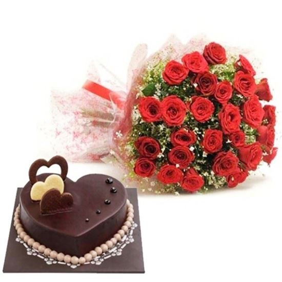 Combo Of 25 Red Roses Bunch And 1Kg Heartshape Chocolate Truffle Cake