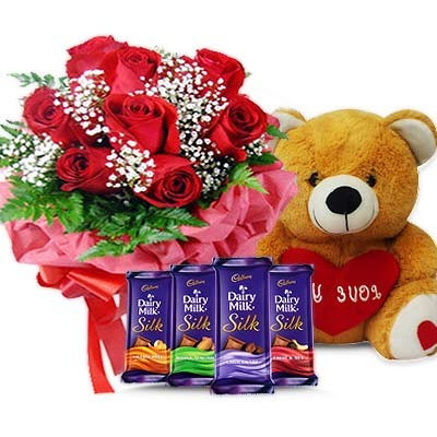 Gift Combo Of 10 Red Roses With 12 Inch Teddy Bear And 4 Cadbury Dairy Millk Silk