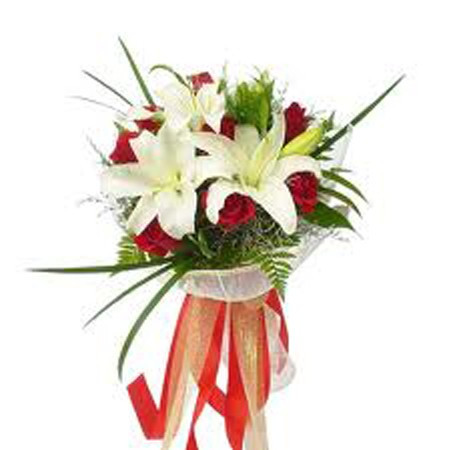 Bouquet Of 3 White Lilies With 12 Red Roses