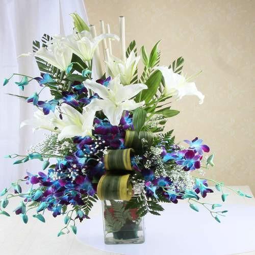 Orchid n Lilies vase