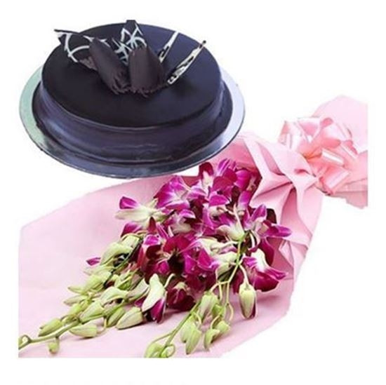 Combo Of 1 Pound Chocolate Cake With Orchids Bouquet