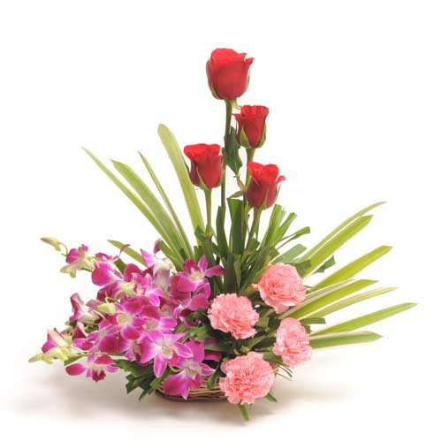 Beautiful Basket Arrangement Of Orchids With Carnations And Roses