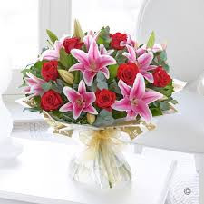 Red Roses With Pink Lilies