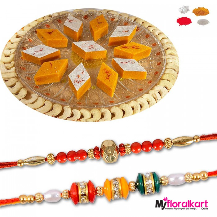 Contrasting bead rakhis with Kesar Kaju barfi
