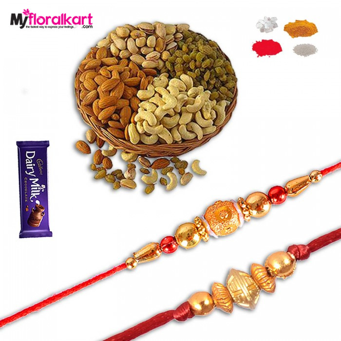 Alluring dry fruits with rakhis