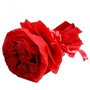 Romantic Affair 15 Red Carnations In Red Wrapping And A Beautiful Ribbion On It