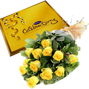 Bleshed Begining - Gift Combo Of 10 Yellow Roses Bunch With Cadbury Celebration Pack